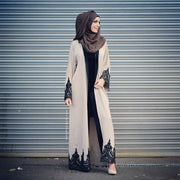 Aaliya Collections Amal Abaya plain cream with black floral lace on sleeves and hem