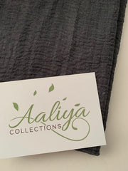 Aaliya Collections cotton crinkle charcoal grey colour hijab headscarf