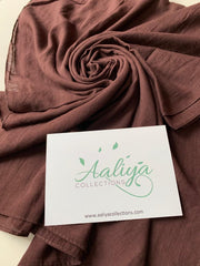 Cotton Linen Hijab - Burgundy Brown
