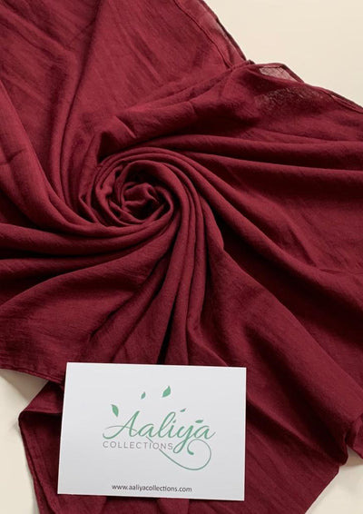 Cotton Linen Hijab - Maroon