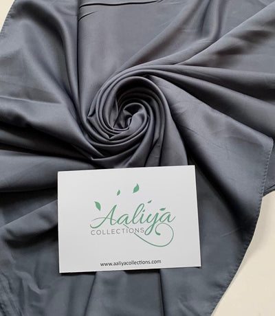 Faux Silk Hijab - Charcoal