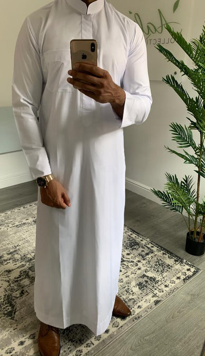 Aaliya Collections Men Kuwaiti Thobe White