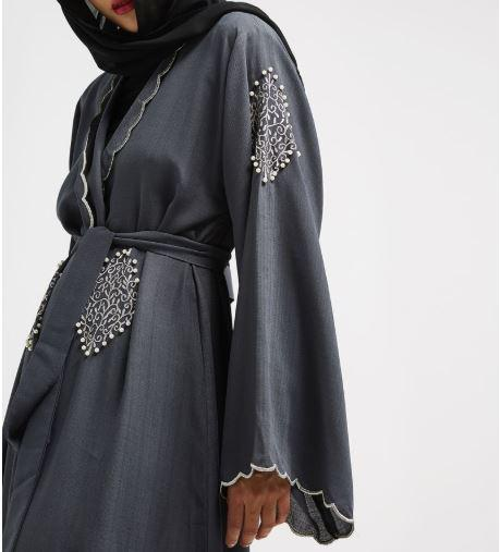 Aaliya Collections Grey Yadira Abaya linen grey piece with gorgeous complementing embroidery