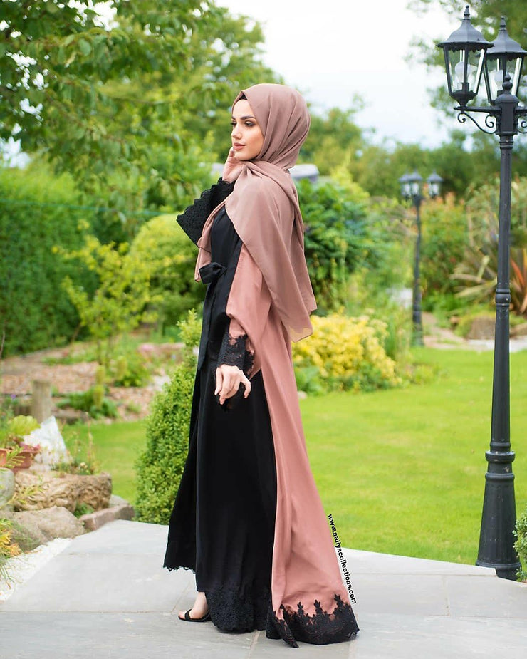 Aaliya Collections Two tone lace Abaya in beautiful tan and black with black lace edging
