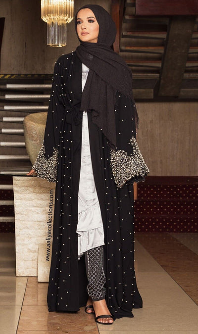 Aaliya Collections black Nawra Abaya with pearls and pearl lace sleeves