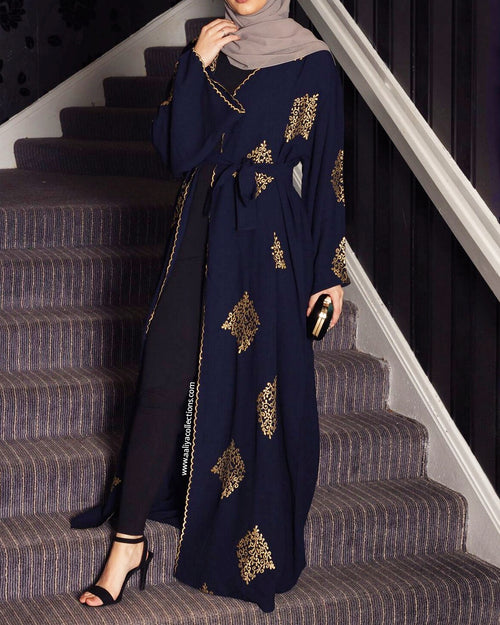 Aaliya Collections Yadira Abaya of gold emboidery on contrasting rich navy fabric