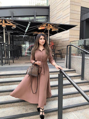 Aaliya Collections Lilah Midaxi dress a Mocha Midaxi Dress, with a matching belt for further tailoring