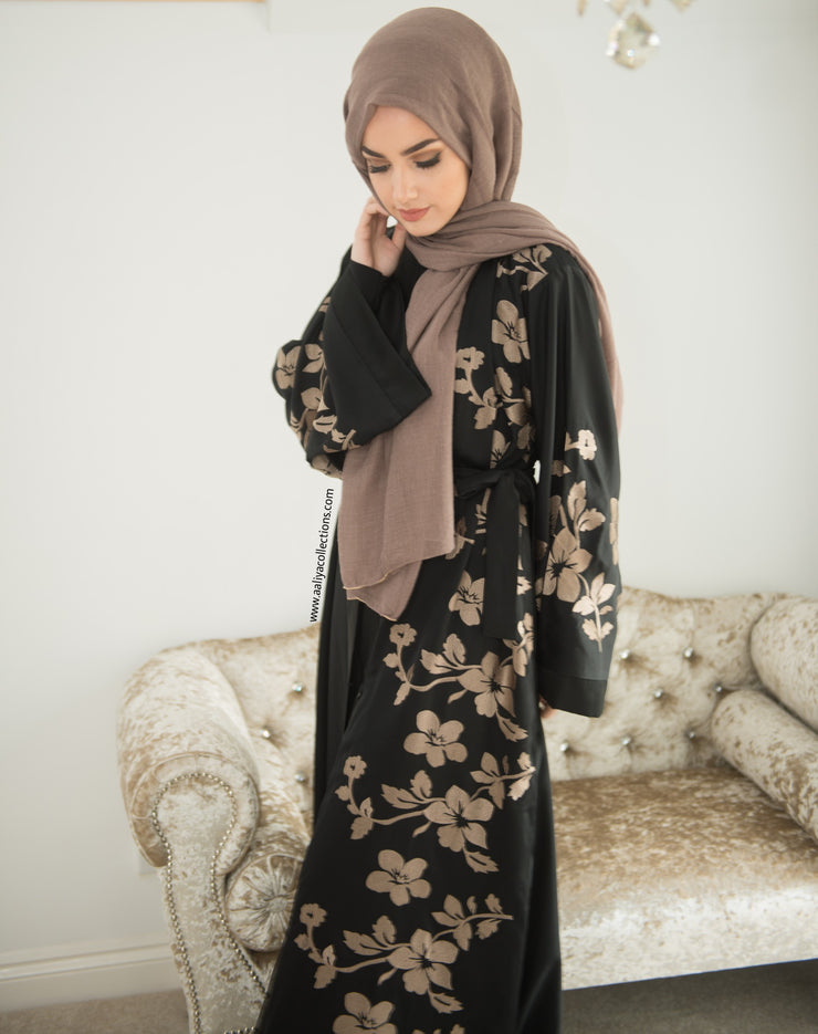 Aaliya Collctions Gold Floral Abaya in black with beautiful floral design