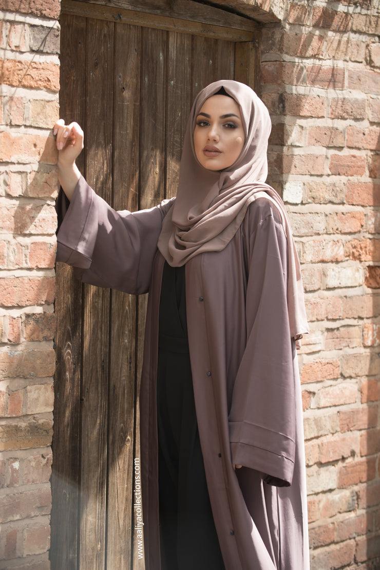 Aaliya Collections Mauve open abaya with fold stiched sleeves