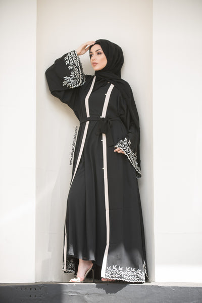 Aaliya Collections akila abaya in black with leaf embroidery on hem and sleeves