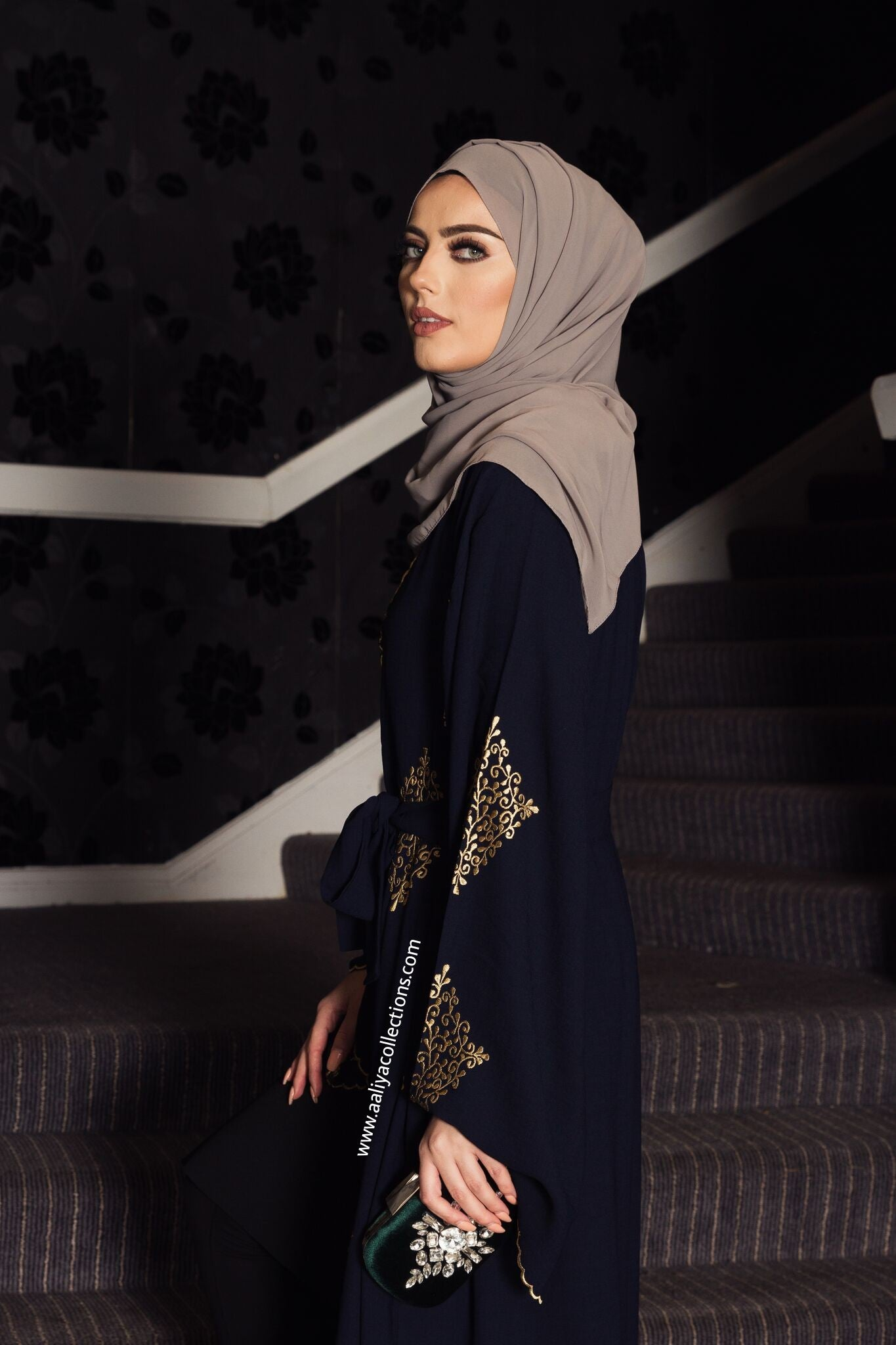 Aaliya Collections Yadira Abaya of gold emboidery on contrasting rich navy fabric side shot