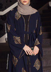Aaliya Collections Yadira Abaya of gold emboidery on contrasting rich navy fabric side shot close up