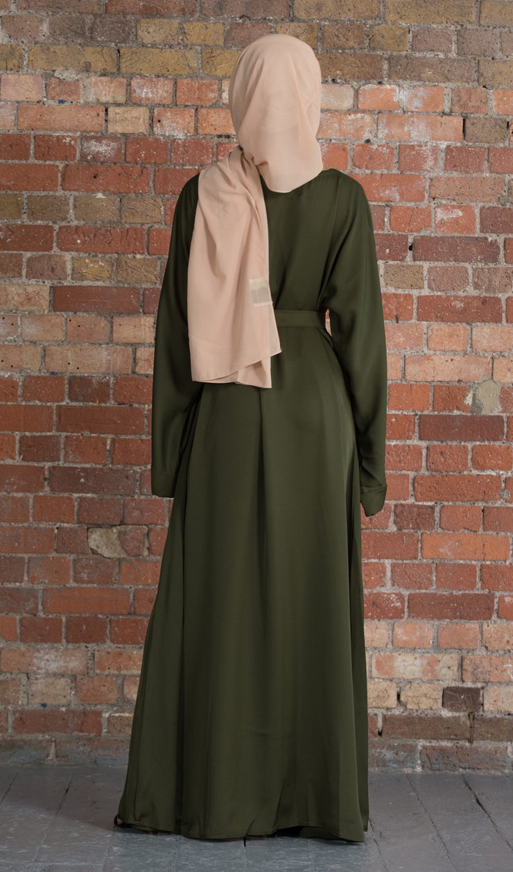 Aaliya Collections Khaki Closed Abaya a closed abaya of A line cut