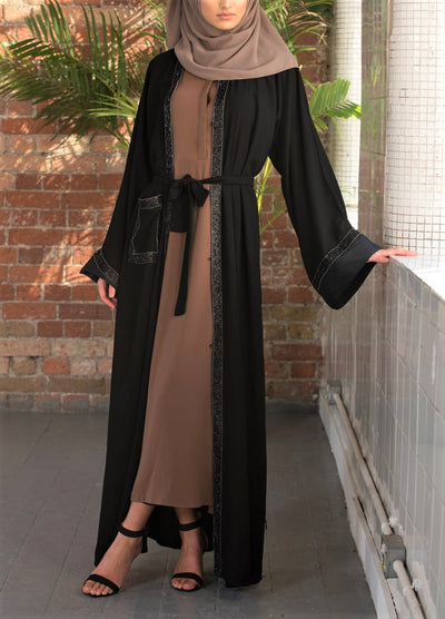 Aaliya Collections Haniya Abaya a classic black abaya with a shimmery black border