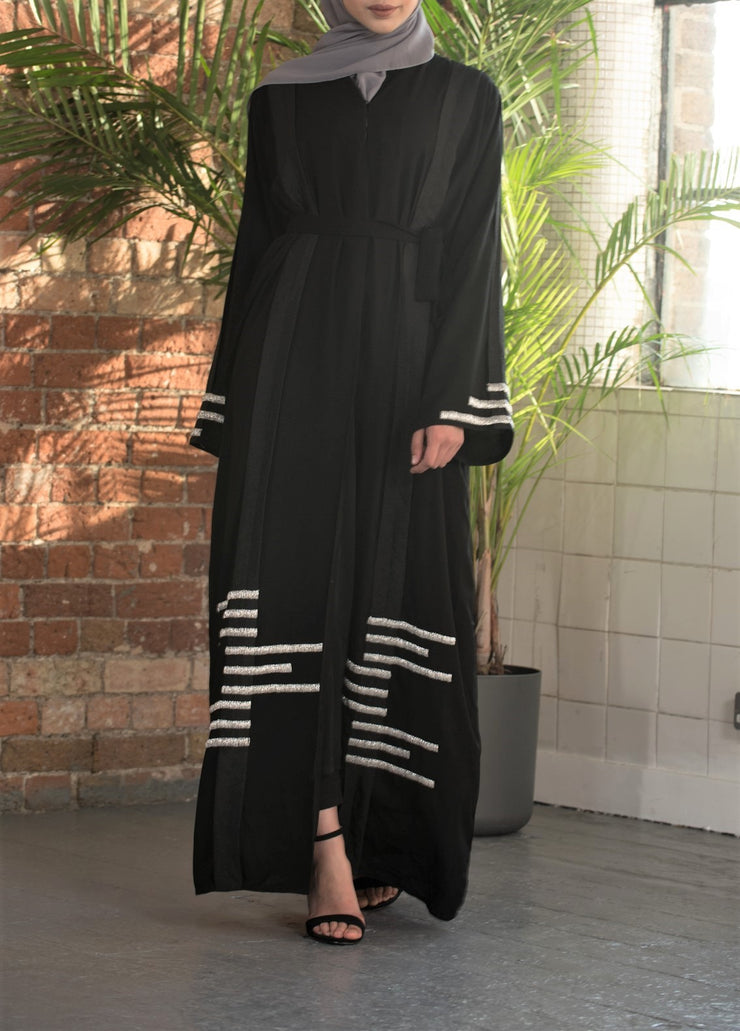 Aaliya Collections Eiliyah Abaya in classic black with contrasting silver and black panel