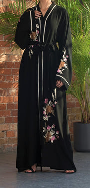 Aaliya Collections Blooming Abaya An classic black abaya with floral embroidery that pops!