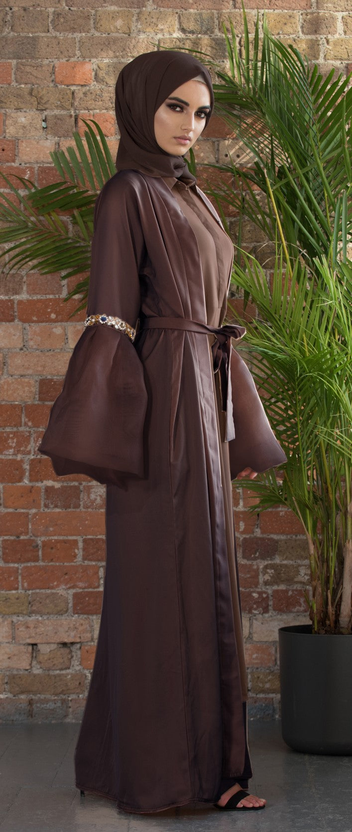Aaliya Collections Myra Abaya gorgeous brown shade with statement organza sleeves and contrasting stonework
