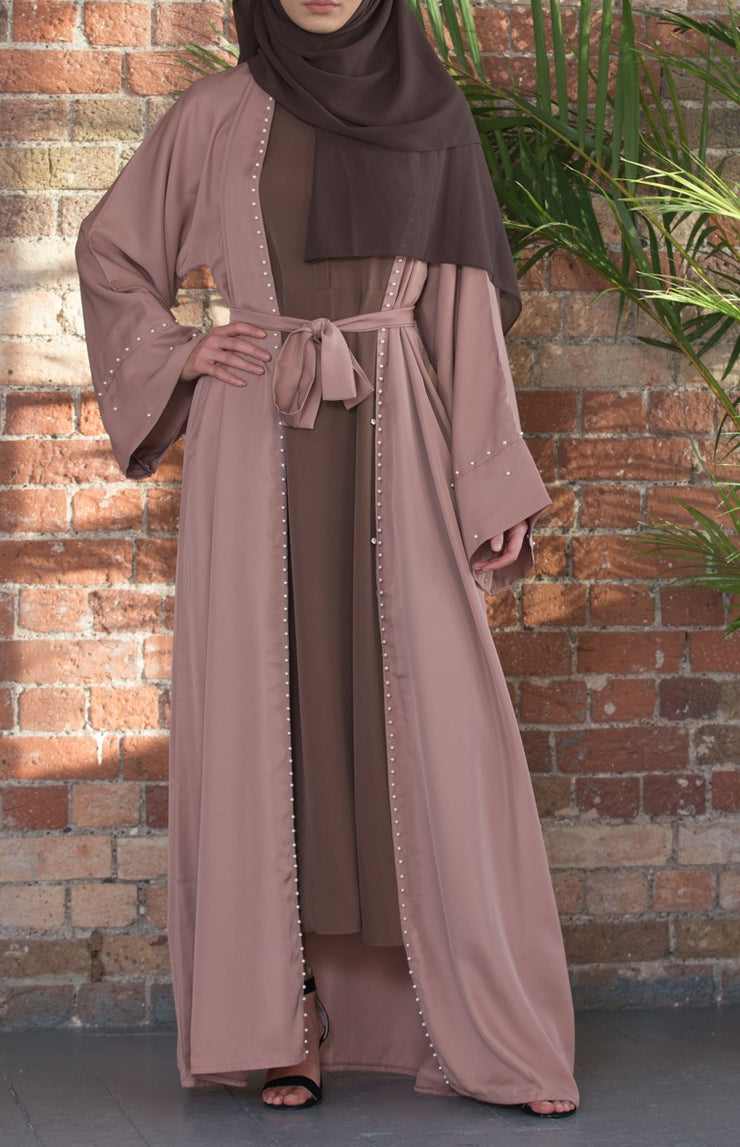 Pearl Border Abaya (Camel) - Ready To Dispatch