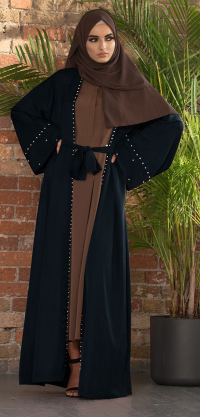 Pearl Border Abaya (Black) - Ready To Dispatch