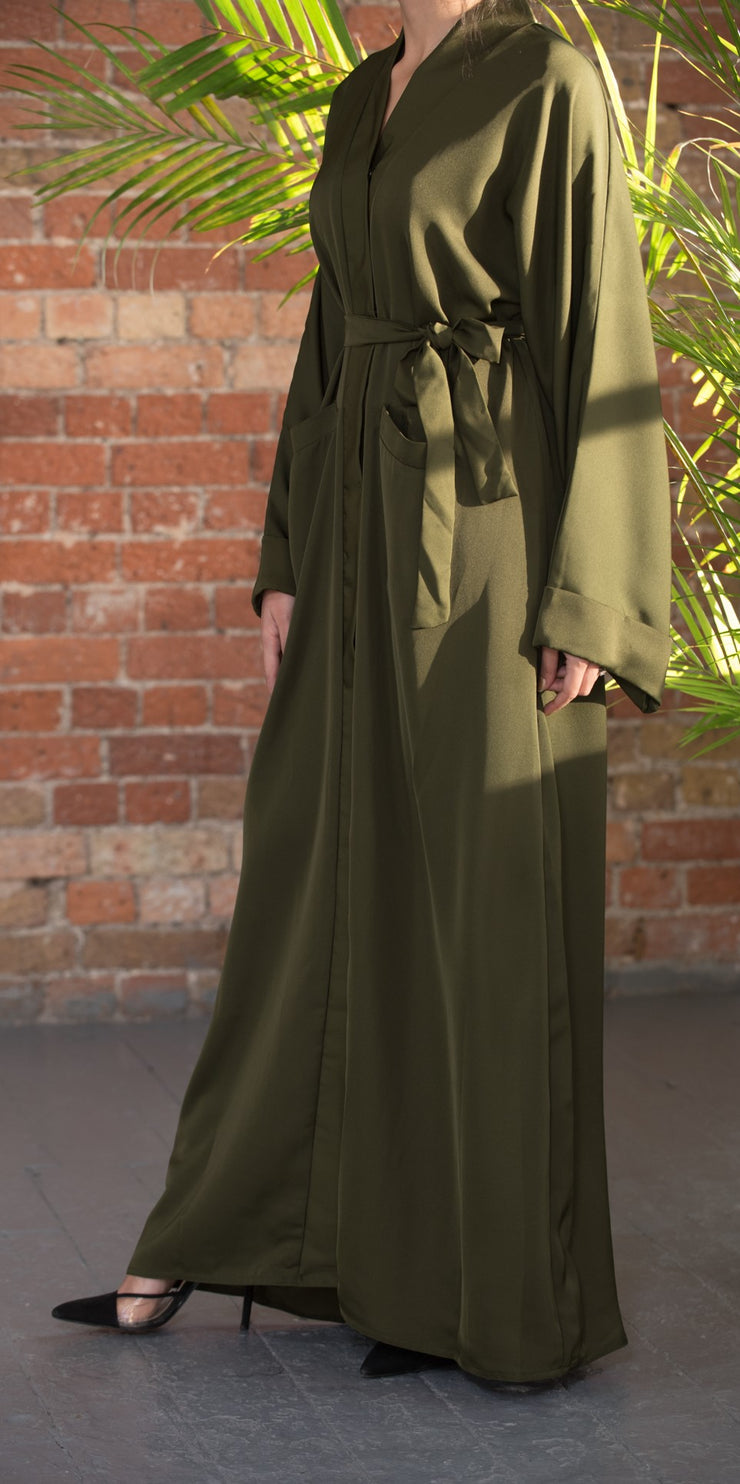 Aaliya Collections Plain Khaki Pocket Abaya A plain Khaki pocket abaya of high quality nidha fabric
