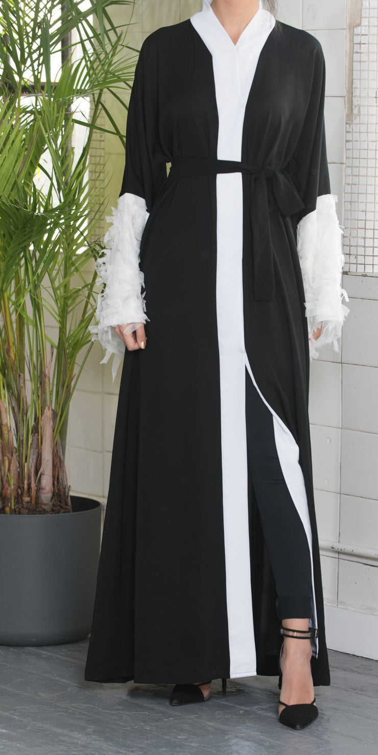 Aaliya Collections feather sleeve abaya in black with feather statement sleeves