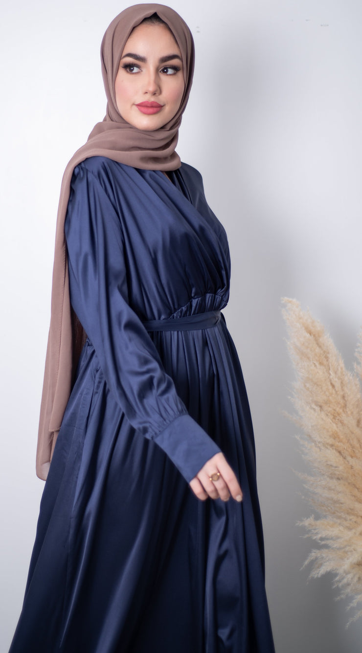 Satin Long Dress - Navy
