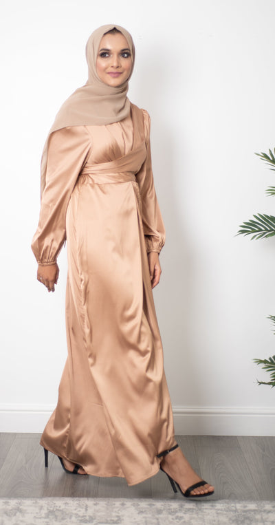 Satin Wrap Dress - Gold