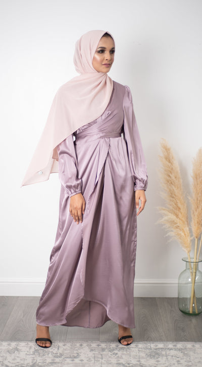 Satin Wrap Dress - Lilac