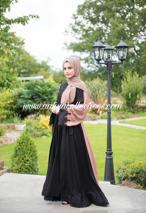 Aaliya Collections Two tone lace abaya in two tone of black at front and brown at rear finished with black lace hem and black lace sleeves