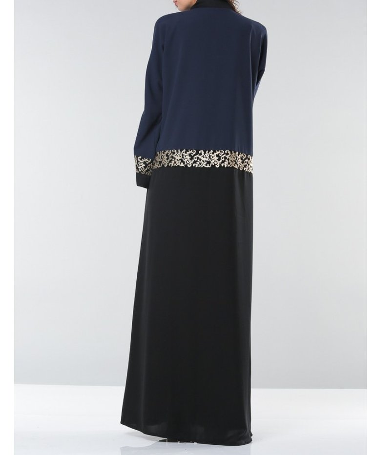 Aaliya Collections Zaida abaya in two tone black and blue with gold embroidery on sleeves