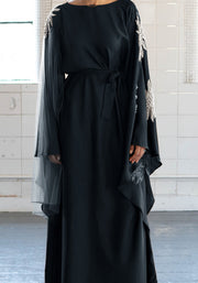 Aaliya Collections Namrah Closed Abaya Classic Black with slitted flared sleeves and beautiful pearl and net detailing
