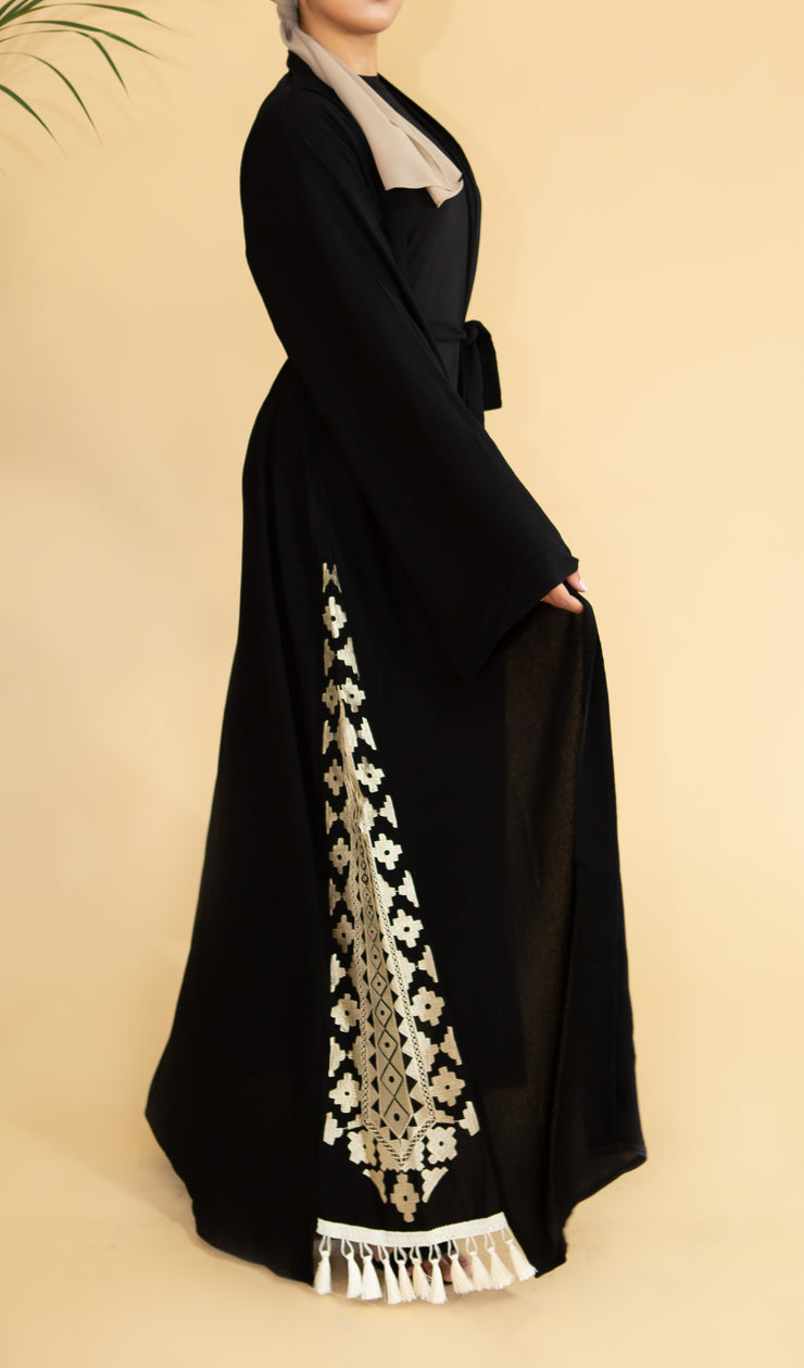 Aaliya Collections Aztec Tassle Abaya stunning Classic Black option with gorgeous side aztec embroidery
