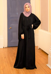 Aaliya Collections Plain Black Pocket Open Abaya A Plain black open abaya of high quality nidha fabric