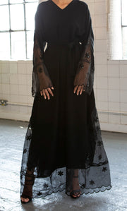 Aaliya Collections Net Embellished Abaya with net hemming