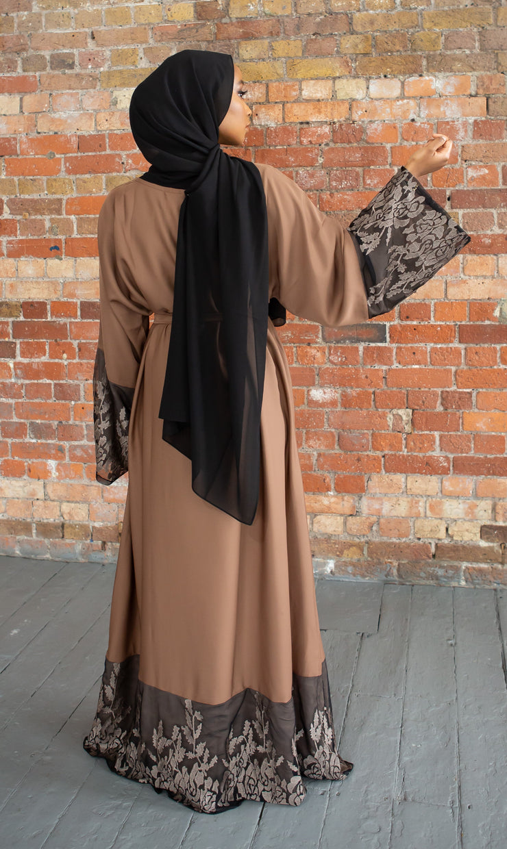 Aaliya Collections Brown Closed Lace Abaya a light and airy elegant brown closed abaya with gorgeous lace finishing