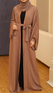Plain Camel Pocket Abaya - Ready To Dispatch