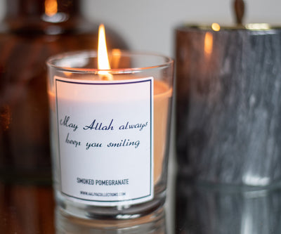 "Aaliya Collections Scented ""May Allah always keep you smiling"" Candle - Smoked Pomegranate"