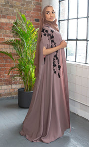 Aaliya Collections Mocha Embroidered Cape contrasting black embroidery