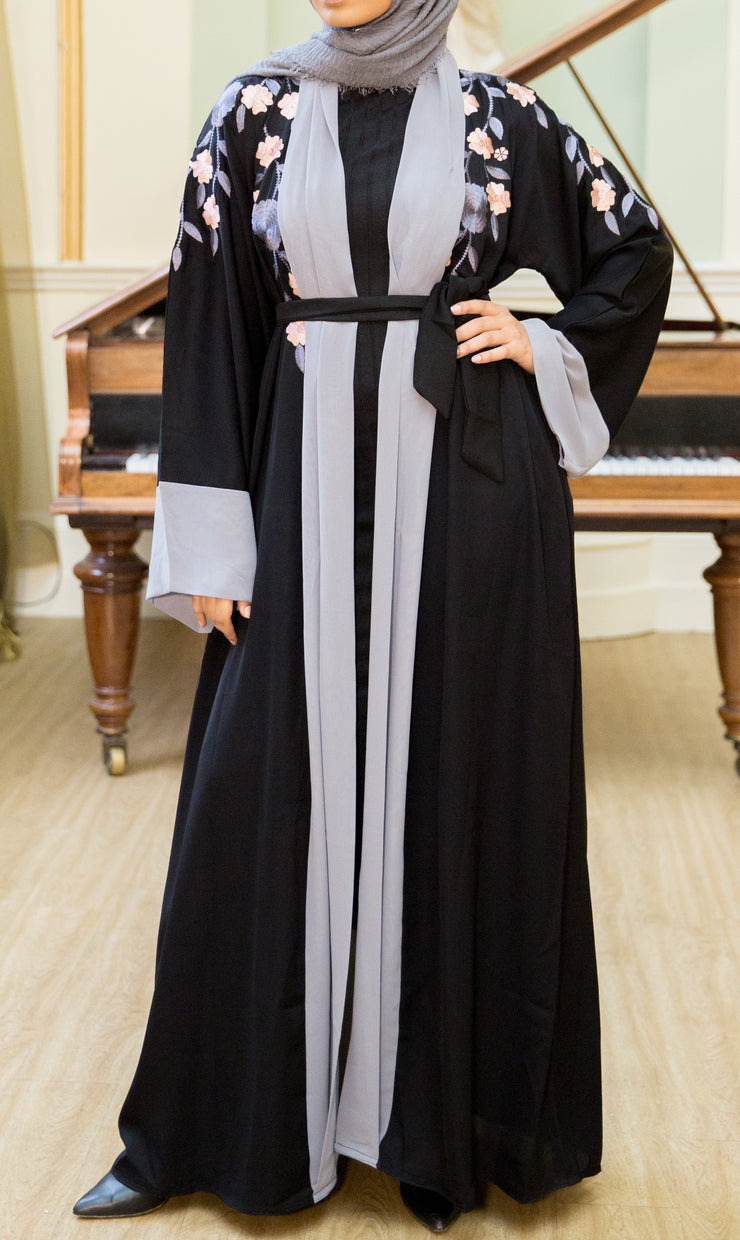 Aaliya Collections Elham Abaya A beautiful black abaya with a gorgeous contrast of grey bordering