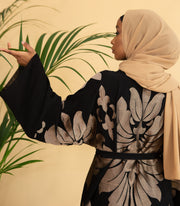 Aaliya Collections Gold Belle Abaya A Classic Black Abaya with gorgeous gold embroidery detail! A versatile piece which can be dressed casually or for a formal event