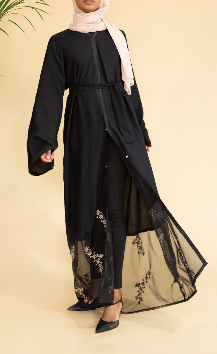 Aaliya Collections Gold Sequin Net Abaya A gorgeous sheer crinkle linen black abaya with stunning hemming of net with gold sequin embellishments