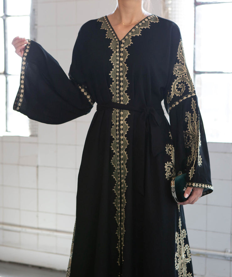 Aaliya Collections Sehrish Embroidered Abaya of rich linen fabrich with stunning green embroidery