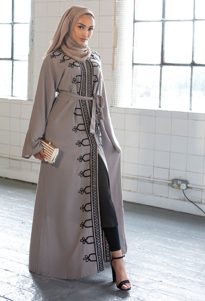 Aaliya Collections Grey Embroidered Abaya of rich linen fabric with stunning black embroidery