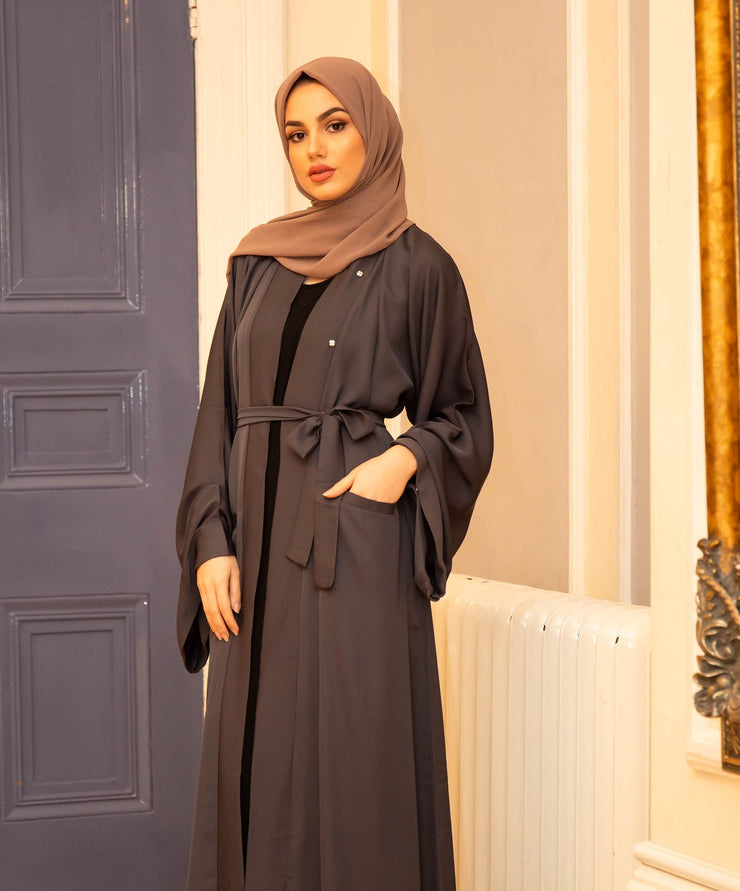 Aaliya Collections Plain Grey Pocket Open Abaya A Plain grey open abaya of high quality nidha fabric