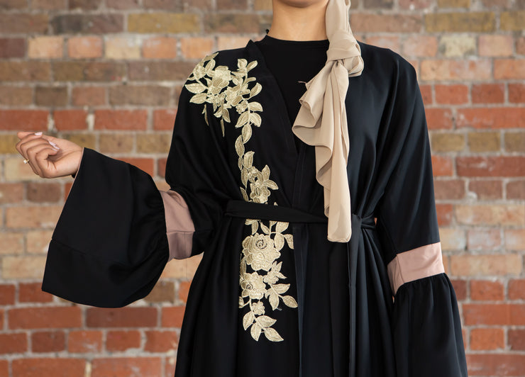 Aaliya Collections Haneen Abaya classic black abaya with stunning gold floral detailing