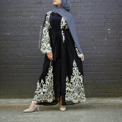 Aaliya Collections Ilana abaya in black made with nida fabric with gold embroidery