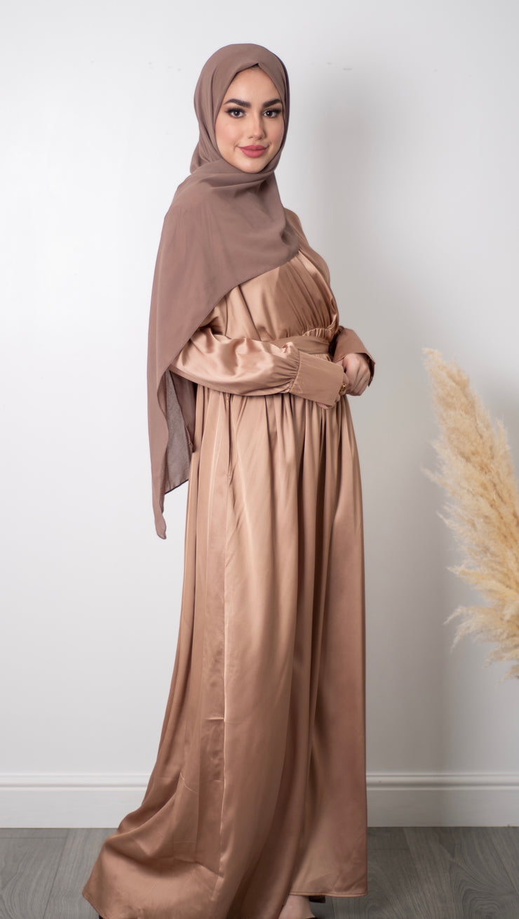 Satin Long Dress - Gold
