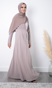 Aaliya Collections Plain Crinkle Abaya - Stone