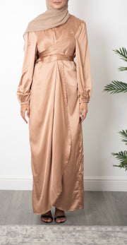 Aaliya Collections Satin Wrap Dress - Gold