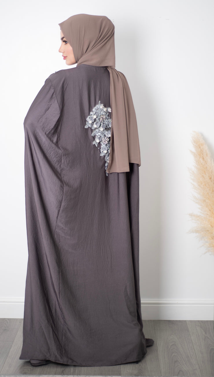 Aaliya Collections Grey Embellished Cape